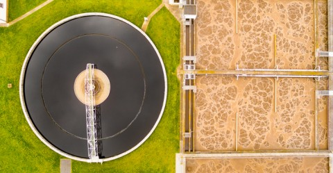 Aerial view of biogas plant for sewage treatment